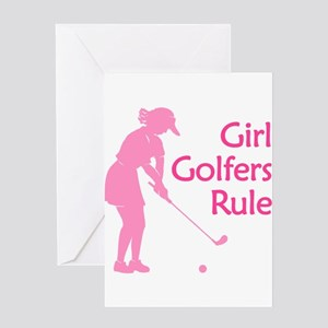 Pink Girl Golfers Rule Greeting Cards