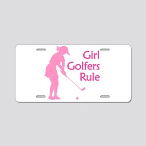 pink girl golfers rule Aluminum License Plate