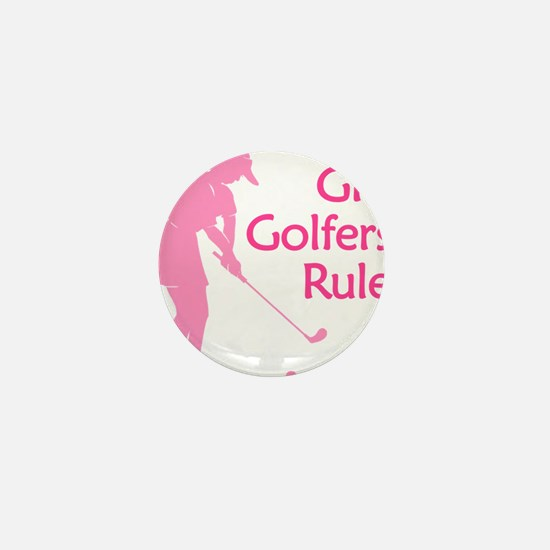 pink girl golfers rule Mini Button (10 pack)