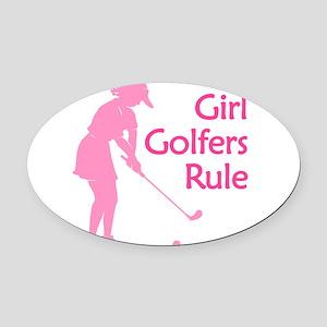 pink girl golfers rule Oval Car Magnet