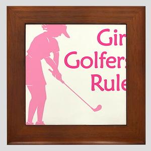 pink girl golfers rule Framed Tile