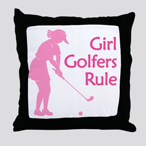 pink girl golfers rule Throw Pillow