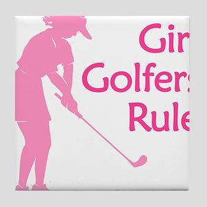 pink girl golfers rule Tile Coaster