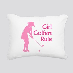 pink girl golfers rule Rectangular Canvas Pillow
