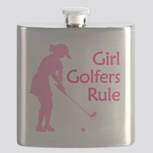 pink girl golfers rule Flask