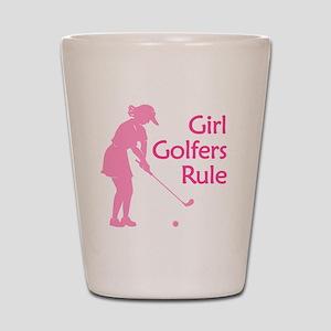 pink girl golfers rule Shot Glass