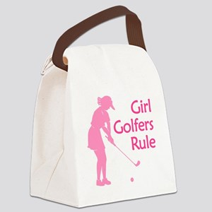 pink girl golfers rule Canvas Lunch Bag