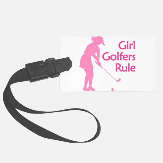 pink girl golfers rule Luggage Tag