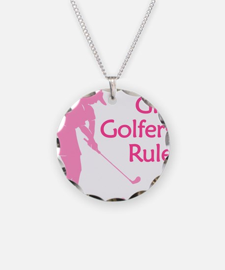 pink girl golfers rule Necklace