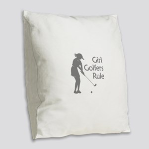 grey girl golfers rule Burlap Throw Pillow