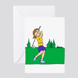 girl swinging golf club Greeting Cards