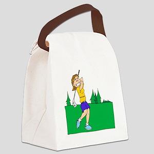 girl swinging golf club Canvas Lunch Bag