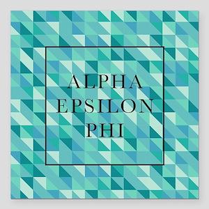 "Alpha Epsilon Phi Geomet Square Car Magnet 3"" x 3"""