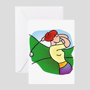 pretty lady golfer Greeting Cards