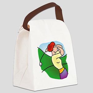 pretty lady golfer Canvas Lunch Bag