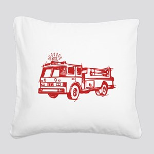 Red Fire Truck Square Canvas Pillow