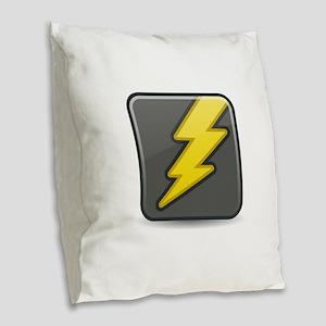 Lightning Icon Burlap Throw Pillow
