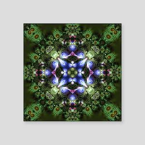 """Indigo Green Forest Fractal Square Sticker 3"""" x 3"""""""