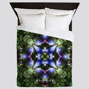 Indigo Green Forest Fractal Queen Duvet