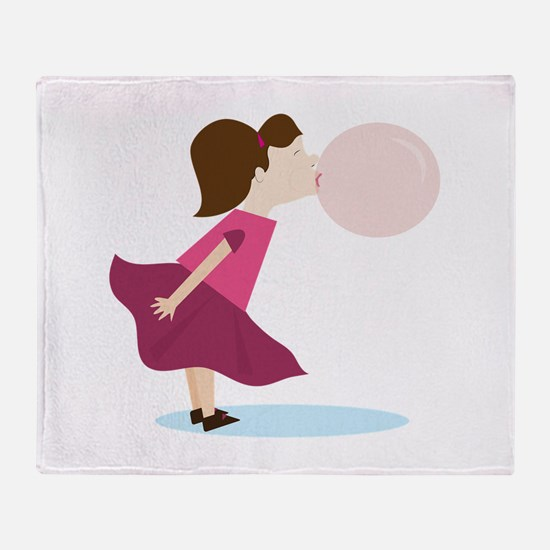 Bubble Gum Girl Throw Blanket