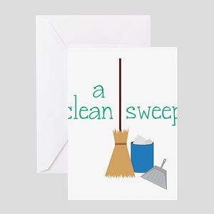 Broom Pan Greeting Cards