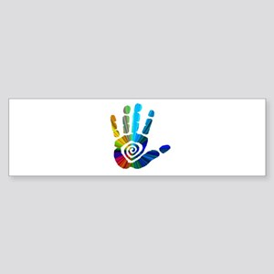 2-awesome rainbow hand Bumper Sticker