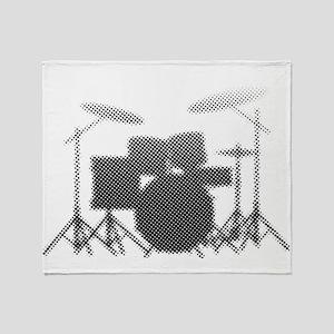 Halftone Drum Kit Throw Blanket
