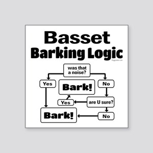 "Basset logic Square Sticker 3"" x 3"""