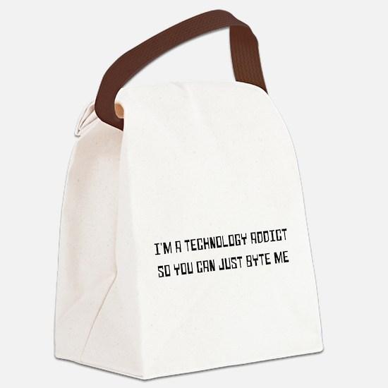 Technology addict byte me Canvas Lunch Bag