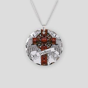 Wallace Tartan Cross Necklace Circle Charm