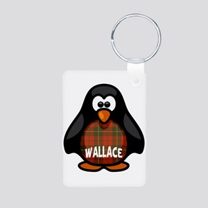 Wallace Tartan Penguin Aluminum Photo Keychain