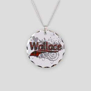 Wallace Tartan Grunge Necklace Circle Charm