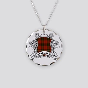 Wallace Tartan Shield Necklace Circle Charm