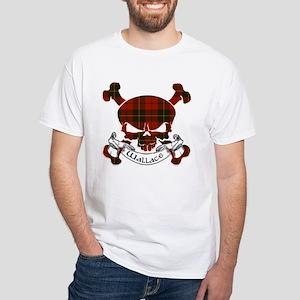 Wallace Tartan Skull White T-Shirt