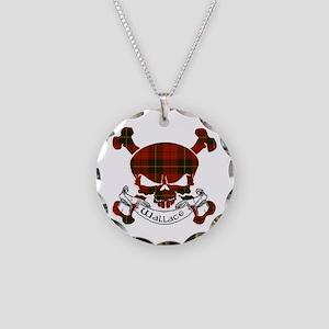 Wallace Tartan Skull Necklace Circle Charm