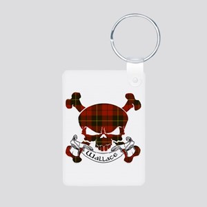 Wallace Tartan Skull Aluminum Photo Keychain