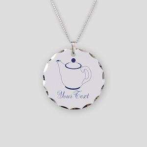 Personalizable Blue Tea Pot Necklace