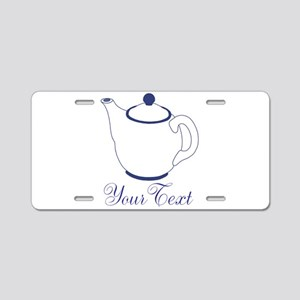 Personalizable Blue Tea Pot Aluminum License Plate