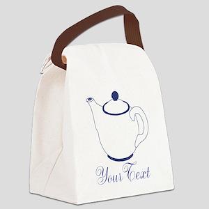 Personalizable Blue Tea Pot Canvas Lunch Bag