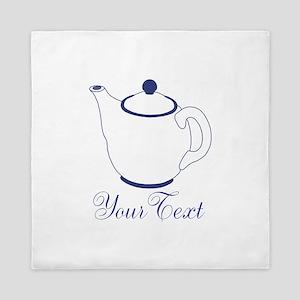 Personalizable Blue Tea Pot Queen Duvet