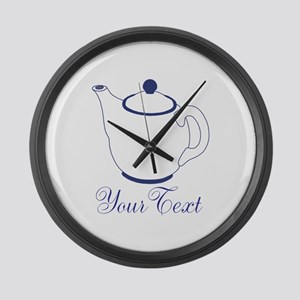 Personalizable Blue Tea Pot Large Wall Clock