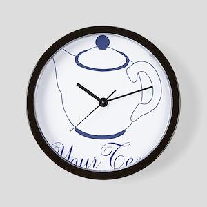Personalizable Blue Tea Pot Wall Clock