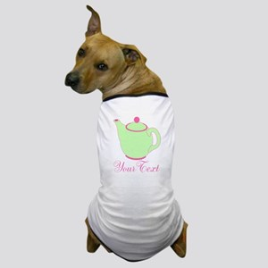 Personalizable Pink and Green Teapot Dog T-Shirt