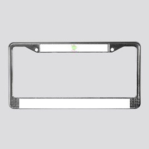 Personalizable Pink and Green Teapot License Plate