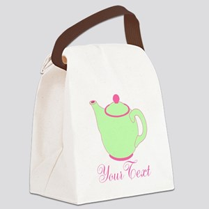 Personalizable Pink and Green Teapot Canvas Lunch