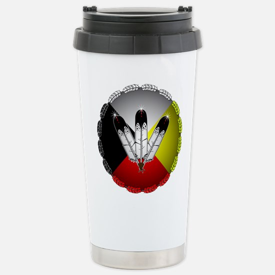 Three Eagle Feathers Travel Mug