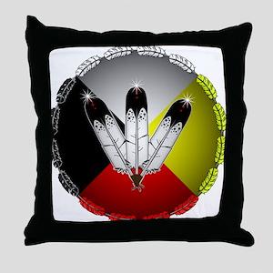 Three Eagle Feathers Throw Pillow