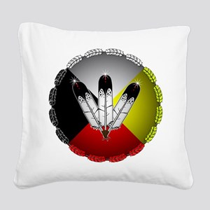 Three Eagle Feathers Square Canvas Pillow