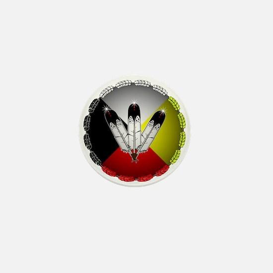 Three Eagle Feathers Mini Button