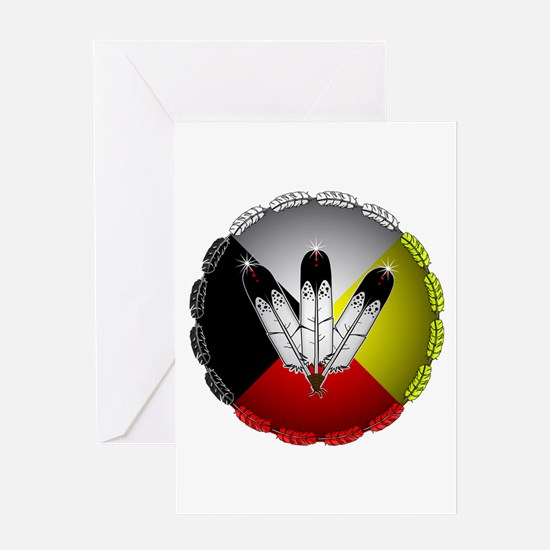 Three Eagle Feathers Greeting Cards